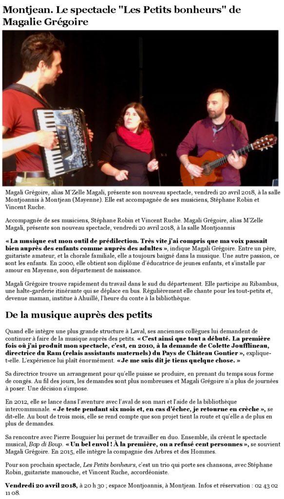 Ouest France Les petits bonheurs